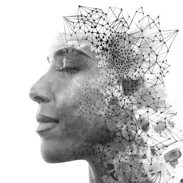 Double exposure. Paintography. Close up portrait of an attractive woman with strong ethnic features combined with unusual hand drawn painting, black and white