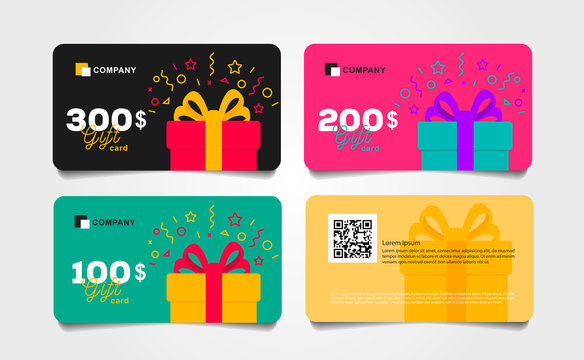 Shopping gift cards template set with gift box and dollar numbers vector illustration, Voucher layout front and back