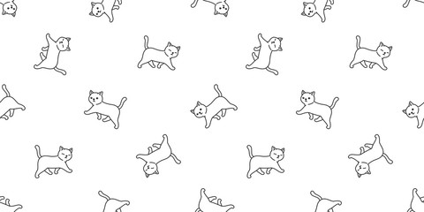cat seamless pattern vector kitten calico walking cartoon scarf isolated tile background repeat wallpaper doodle illustration white
