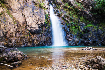 Natural background Landscape photo jogkradin in the deep forest at Kanchanaburi in Thailand. Emerald waterfall, travel nature, Travel relax, Travel  Thailand, Waterfall picture, Landscape photo.