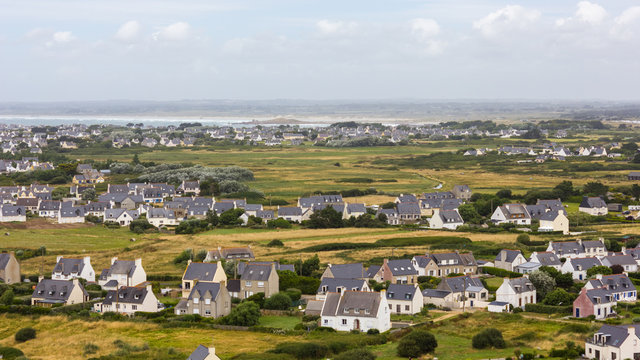 Aerial view of the small village of Saint-Pierre, Penmarch, Brittany, France, as seen from the lighthouse of Eckmühl