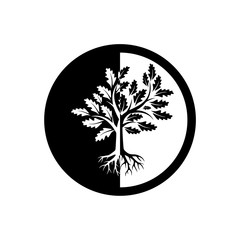 Tree of life icon, sign, logo, button, illustration with tree and roots silhouette