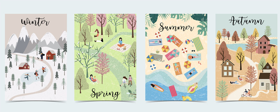 Natural background with winter, spring, summer, autumn season.Poster vector with activity of people