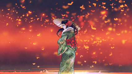 Deurstickers Grandfailure young asian girl in Japanese traditional clothes holds an umbrella standing against fantasy place with glowing insects flying around, digital art style, illustration painting