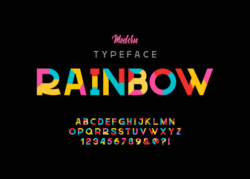 Vector of modern vibrant font and alphabet.