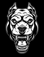 Ferocious pit bull head