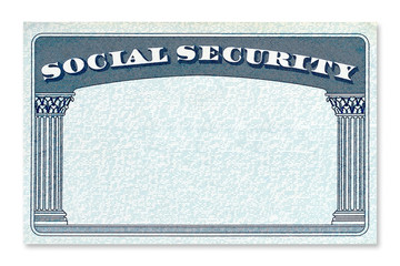 Blank USA Social Security Card mockup or mock up template isolated on white background