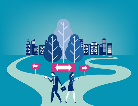 Businesss people with crossroad. Concept business vector illustration, Choice, Direction, Flat business cartoon character style deisgn.