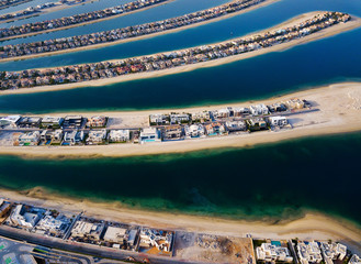 The Palm island in Dubai aerial view