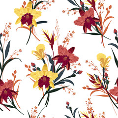 Seamless vector blooming orchid, floral summer pattern background in the garden. Design for wallpapers, web page backgrounds, surface textures, textile and all prints