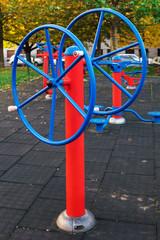 exercise equipment in public park in morning