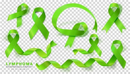 Lymphoma Awareness Month. Lime Green Color Ribbon Isolated On Transparent Background. Vector Design Template For Poster. Illustration. Wall mural