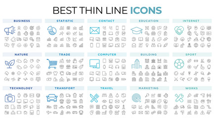 thin line icons Wall mural