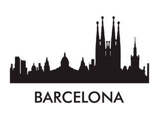 Barcelona skyline silhouette vector of famous places