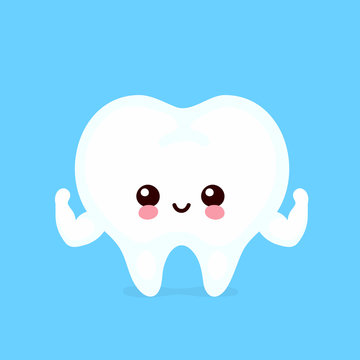 Strong healthy happy human tooth character