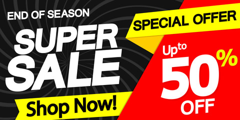 Super Sale, up to 50% off, horizontal poster design template, special offer, discount web banner, end of season, vector illustration
