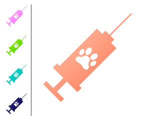 Coral Syringe with pet vaccine icon isolated on white background. Dog or cat paw print. Set color icons. Vector Illustration