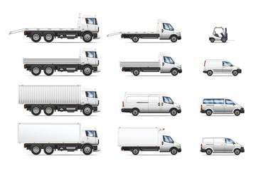 Vector illustrations set of commercial transportation trucks.