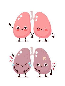 Sad suffering sick cute and healthy happy lungs