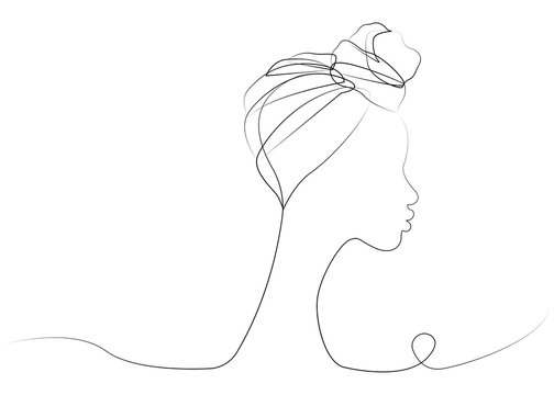 continuous line drawing of Afro woman. Shenbolen Ankara Headwrap Women African Traditional Headtie Scarf Turban. Vector icon logo isolated transparent background