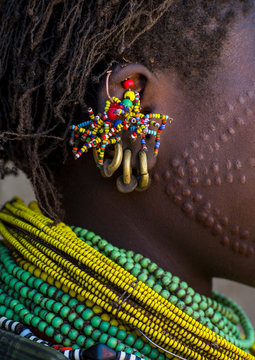 Close up ofTopossa woman earrings, Omo valley, Kangate, Ethiopia