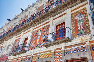 Colorful Puebla streets in Zocalo historic city center Fototapete