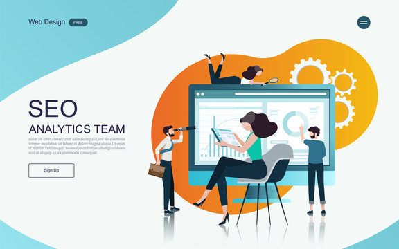 Business concept of marketing and teamwork for banner and website, landing page.Business analysis, stategy and planning.Vector