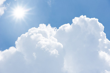 Blue sky cloud sun light background  hot high temperature summer day