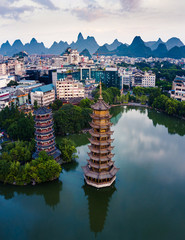 Wall Murals Guilin Guilin Park Twin Pagodas in Guangxi province of China