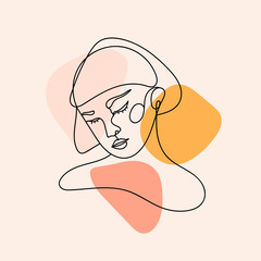 Wall Mural - Modern abstract face. Contemporary female silhouette. Hand drawn outline trendy vector illustration. Continuous line, minimalistic concept. Pastel colors