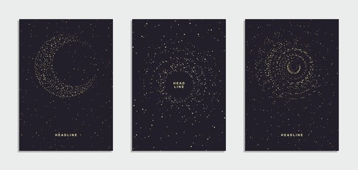 Abstract night starry sky flyer, brochure, corporate identity.