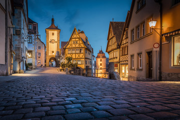 Historic town of Rothenburg ob der Tauber in twilight, Bavaria, Germany Wall mural