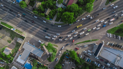 Drones Eye View - traffic jam top view, transportation concept
