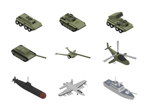 Military machinery isometric illustrations set