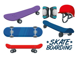 set of skateboard with helmet and knee pad