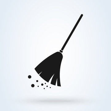 Broom cleaning Simple modern icon design illustration