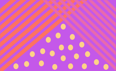 bright print lilac lines yellow circles. Abstract modern geometric background.Minimalistic design, creative concept, Vector-stock illustration.