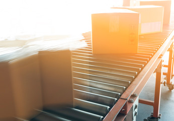 fast movement blur of parcel cardboard boxes on conveyor belt. sorting cargo in distribution warehouse.  Wall mural
