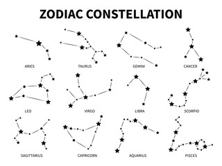 Zodiac constellation. Aries taurus gemini cancer leo virgo libra scorpio pisces zodiacal, mystic astrology vector isolated black signs