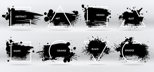 Tuinposter Graffiti Ink blots. Abstract shapes, frames with black brushstroke grunge texture. Isolated border vector set