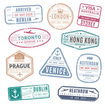 Travel stamp. Vintage passport visa international arrived stamps with grunge texture. Isolated vector set