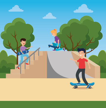 girl and boy playing skateboard in the ramps