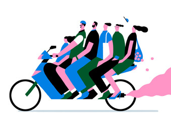 six people on the motor bike