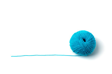 Ball of yarn on white background
