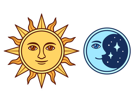 Sun and moon with face