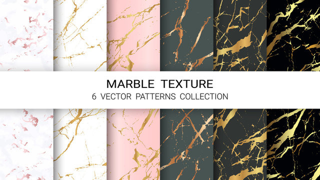 Marble Texture, Premium Set of Vector Patterns Collection, Abstract Background Template, Suitable for Luxury Products Brands with Golden Foil and Linear Style.
