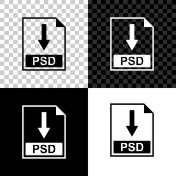 PSD file document icon. Download PSD button icon isolated on black, white and transparent background. Vector Illustration