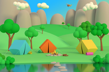 Summer camp in the forest in the afternoon on a background of mountains. Colored tents around the fire. 3D render