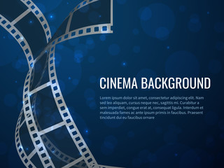Film strip roll poster. Movie production with realistic blank negative film frames and text. Vector cinema background