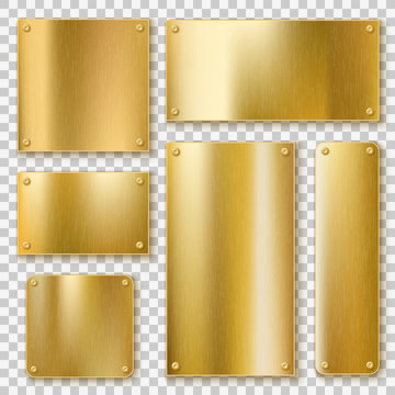 Golden plates. Gold metallic yellow plate, shiny bronze banner. Polished textured blank label with screws realistic vector templates